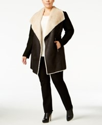 Calvin Klein Plus Size Faux Shearling Jacket Black