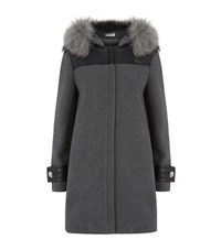 Claudie Pierlot Great Fur Trim Coat Female Grey