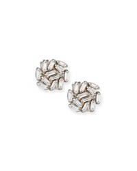 Suzanne Kalan Diamond Baguette Cluster Earrings In 18K White Gold