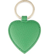 Smythson Panama Leather Heart Keyring Emerald