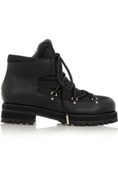 Jimmy Choo Ditto Shearling Lined Textured Leather And Canvas Ankle Boots Black