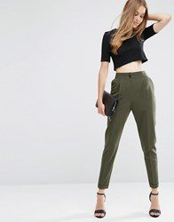 Asos Tailored High Waisted Trousers With Turn Up Detail Deep Forest Green