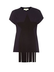 Stella Mccartney Star Applique Cotton Jersey T Shirt Navy