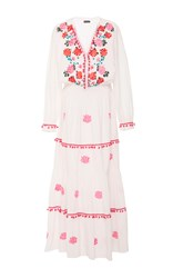 Chantik Floral Embroidered Peasant Dress White
