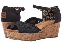 Toms Platform Wedge Black Crochet Cork Women's Wedge Shoes
