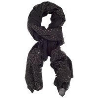 Chesca Large Voile Sequin Scarf Black