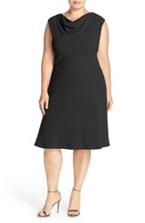 Tahari Plus Size Women's Drape Neck Jersey Fit And Flare Dress Black