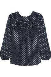 J.Crew Polka Dot Silk Georgette Blouse Navy