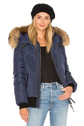 Mackage Romane Jacket With Asiatic Raccoon Fur Trim Navy
