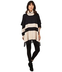 Brigitte Bailey Lany Striped Poncho With Fringe Charcoal Ivory Women's Coat Black
