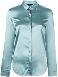 Les Copains Concealed Front Fastening Shirt Blue