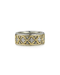 Classic Silver And 18K Clover Band Ring Men's Size 10 Konstantino
