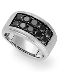 Macy's Men's Sterling Silver Ring Black Sapphire Two Row Ring 1 1 2 Ct. T.W.