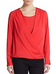 Calvin Klein Draped Roll Tab Sleeve Blouse Rouge