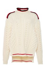 Isabel Marant Edison Short Aran Knit Jumper White