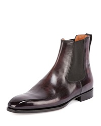 Classic Leather Chelsea Boot Burgundy Berluti