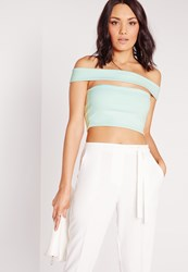 Missguided Cut Out Bandeau Crop Top Mint Green
