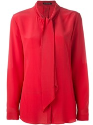 Luisa Cerano Bow Neck Blouse Red