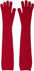 Mm6 Maison Margiela Red Long Wool Knit Gloves