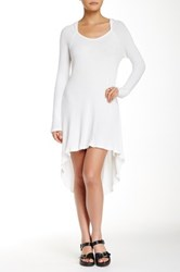 Paper Crane Long Sleeve Hi Lo Knit Dress White