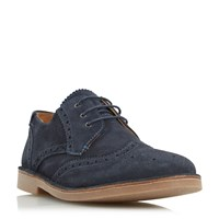 Loake Utah Contrast Stitch Detail Brogue Shoes Navy