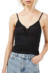 Topshop Women's Lace Up Ribbed Camisole Black