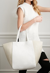Forever 21 Colorblocked Faux Leather Tote Taupe Cream