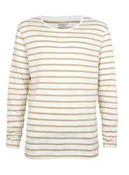 Topman Selected Homme Beige Stripe Long Sleeve T Shirt Brown
