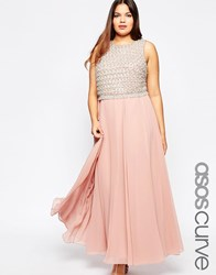 Asos Curve Double Layer Embellished Maxi Dress Pink