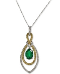 Effy Collection Brasilica By Effy Emerald 1 1 8 Ct. T.W. And Diamond 5 8 Ct. T.W. Oval Pendant In 14K Yellow And White Gold