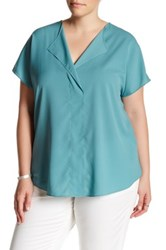 14Th And Union Short Sleeve V Neck Blouse Plus Size Blue