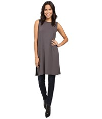 Lilla P Stretch Jersey Side Slit Tunic Pewter Women's Blouse