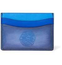 Berluti Tri Tone Burnished Venezia Leather Cardholder Blue