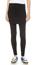 Riller And Fount Mindy High Waisted Leggings With Attached Skirt Black French Terry