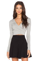 Motel Wrap Long Sleeve Top Gray