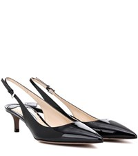Prada Patent Leather Slingback Pumps Black
