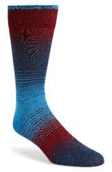 Bugatchi Men's 'Alternating Ombre' Stripe Socks Blue Bordeaux