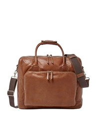 Fossil Carson Leather Briefcase Cognac