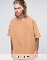 Reclaimed Vintage Oversized Cupro T Shirt Stone