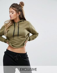 South Beach Cropped Khaki Hoodie Khaki Green