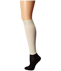 Bootights Roxy Rhinestone Darby Cream Women's Crew Cut Socks Shoes Beige