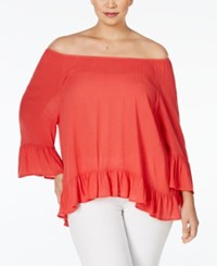 Styleandco. Style And Co. Plus Size Off The Shoulder Peasant Blouse Only At Macy's Dark Rose