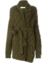 A.F.Vandevorst Cable Knit Belted Cardigan Green