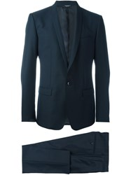 Dolce And Gabbana Two Piece Jacquard Suit Blue