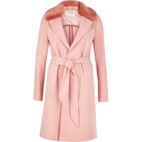 River Island Womens Pink Faux Fur Collar Robe Coat