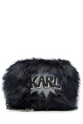 Karl Lagerfeld Faux Fur Shoulder Bag Blue