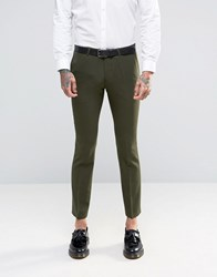 Noose And Monkey Super Skinny Suit Trousers With Stretch Khaki Green