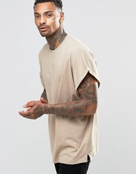 Asos Super Oversized T Shirt With Roll Sleeve In Beige Blonde