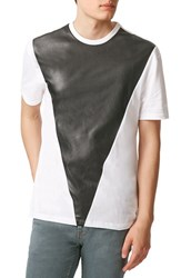 Men's Topman Faux Leather Panel Crewneck T Shirt