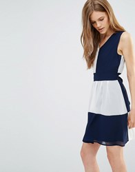 Yumi Tie Back Dress In Colourblock Navy Cream